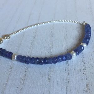 Jewelry - Genuine Tanzanite Gems Real Pearl silver bracelet
